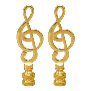 Treble Clef Lamp Finials - a Pair For Sale