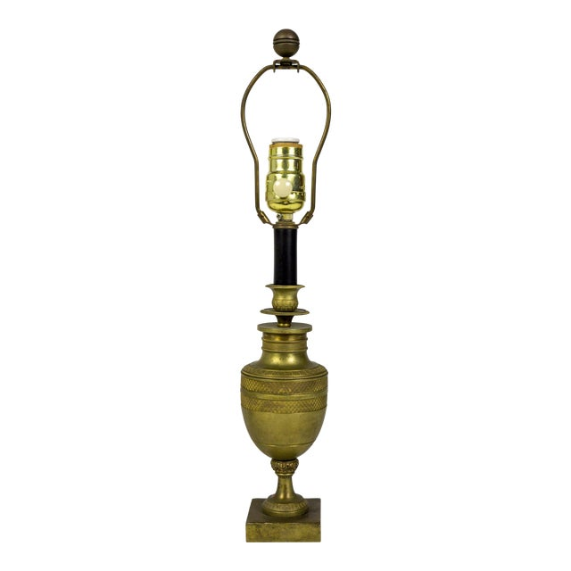 Petite Neoclassical Bronze Urn Candlestick Lamp With Hatched Banding For Sale