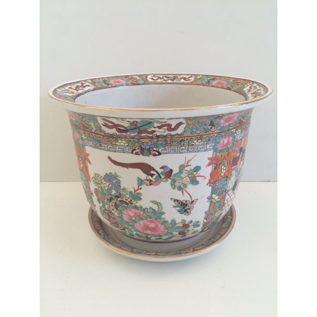 Asian Style Rose Medallion Cachepot For Sale In West Palm - Image 6 of 6