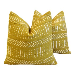 "Gold & Cream Mali Tribal Mud Cloth Feather/Down Pillows 22"" Square - Pair For Sale"
