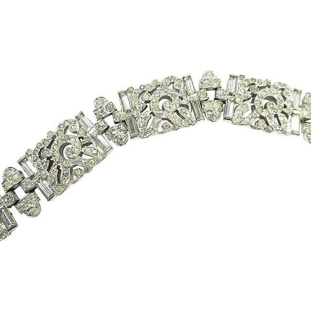 Art Deco Ktf Trifari Crystal & Rhodium Bracelet, 1930s For Sale - Image 4 of 8