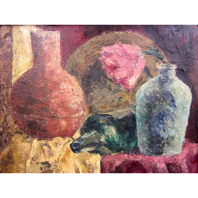 1960s Vintage Suzanne Peters Oil on Canvas Studio Still Life With Roses, Peonies, Clay Vessels & Fruit Painting For Sale In Chicago - Image 6 of 9