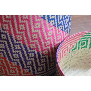 Oaxacan Hand-Woven Palm Bastes Lidded Basket Preview