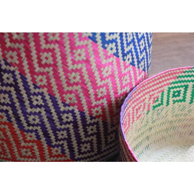 Magical Tenate Basket woven by artisans from Oaxaca with a design and unique colors. Use it as a paper trash, store toys...