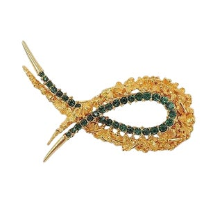 Circa 1963 Boucher Modernist Faux-Emerald Rhinestone Pin For Sale
