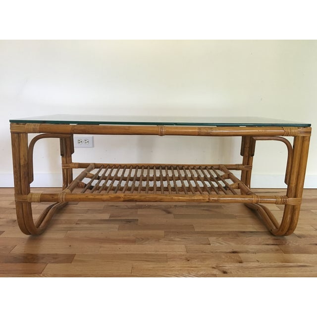 Vintage Franco Albini Style Bamboo Glass Top Table - Image 2 of 7