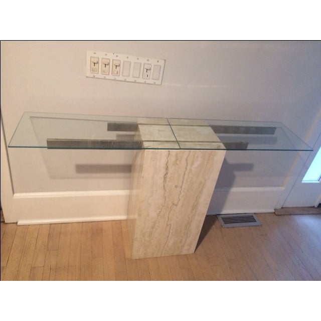 Mid-Century Modern Travertine Console Table & Glass Top - Image 2 of 11