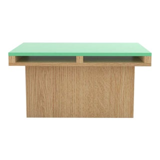 Contemporary 102 End Table in Oak and Mint by Orphan Work, 2020 For Sale