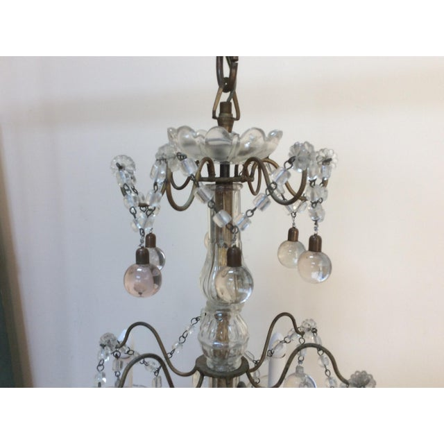 Clear Murano glass drop Chandelier For Sale - Image 4 of 6