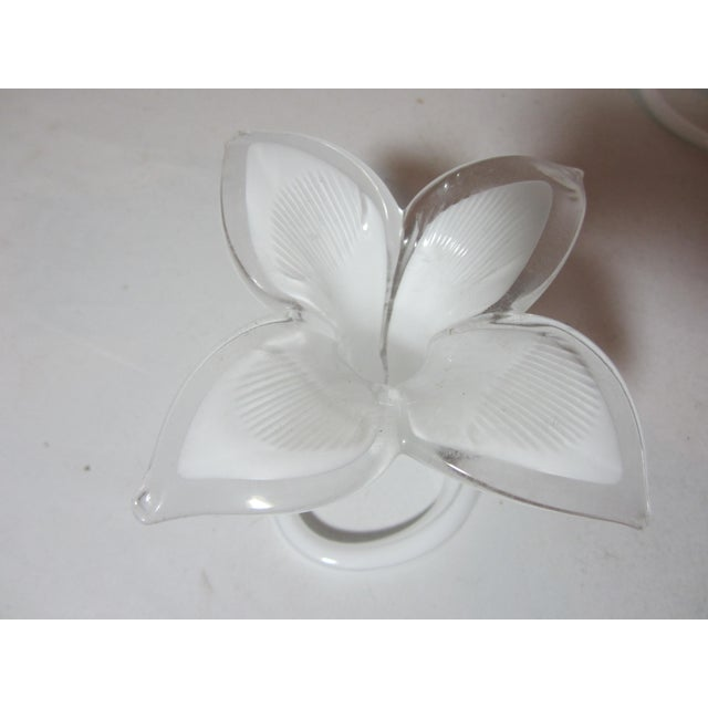 Glass White Murano Lilly Candle Holders - Set of 2 For Sale - Image 7 of 9