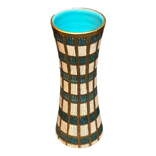 Mid Century Italian Blue, Gold & Cream Vase For Sale