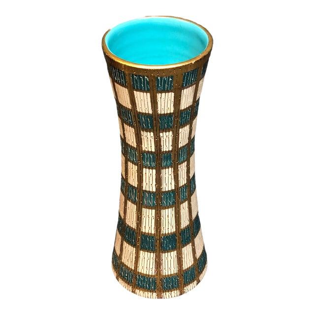 Mid Century Italian Blue, Gold & Cream Vase For Sale