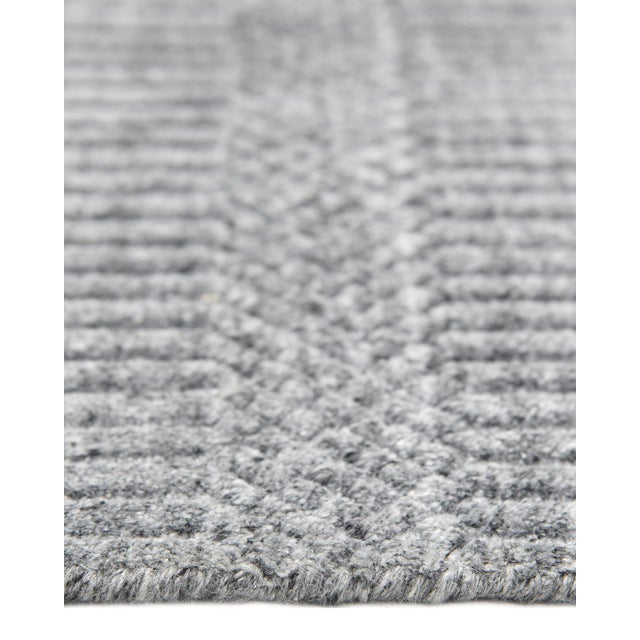 Sanam, Contemporary Solid Hand Loomed Area Rug, Gray, 8 X 10 For Sale In New York - Image 6 of 9