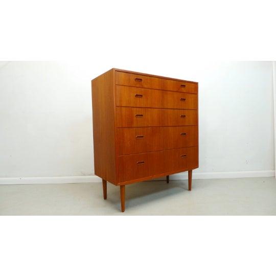 Danish Modern 1960s Mid Century Danish Modern Teak Chest 5 Drawer Dresser by Falster For Sale - Image 3 of 9