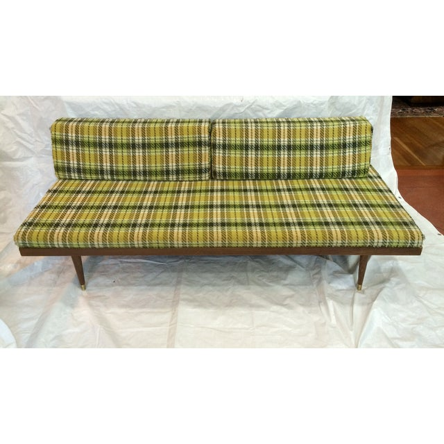 Mid-Century Green Plaid Daybed Sofa For Sale - Image 7 of 10
