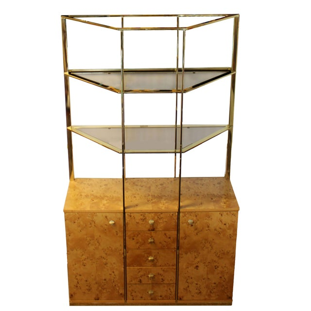 Brown Mid Century Modern Milo Baughman Burl Wood Credenza Brass Etagere Glass Shelves For Sale - Image 8 of 8