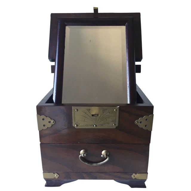 Antique Chinese Rosewood Traveling Vanity Mirror / Box For Sale