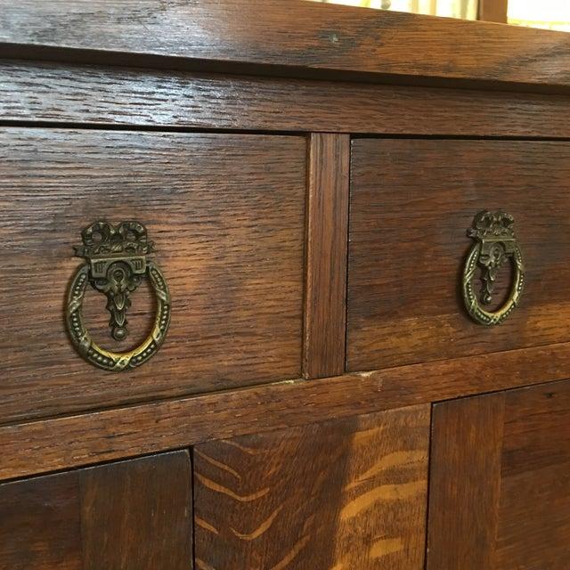 Vintage Tiger Grain Oak Sideboard - Image 9 of 10