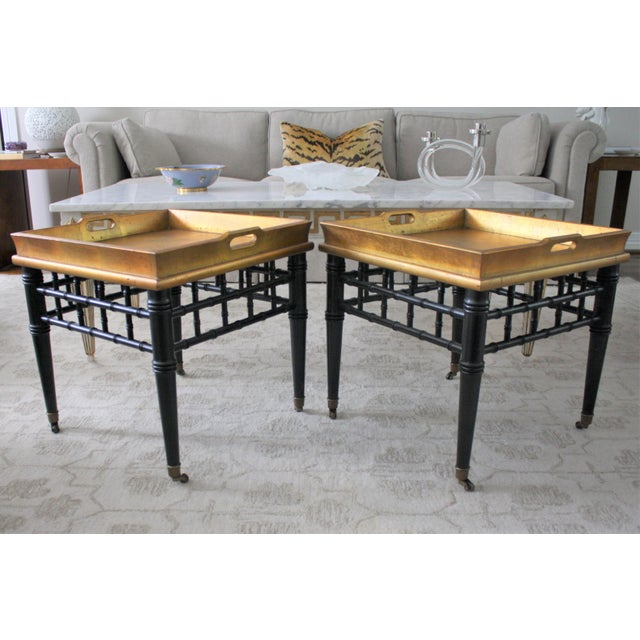 Gold Pair of Mid-Century Faux Bamboo Gold Leaf Tray Top Tables For Sale - Image 8 of 13