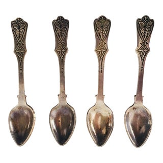 Antique Sterling Silver Salt Spoons - Set of 4 For Sale