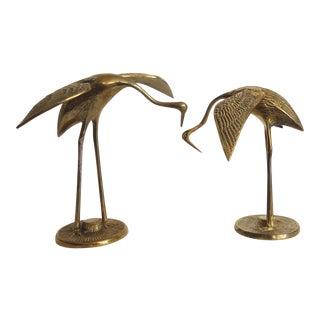 Vintage Brass Crane Figurines - a Pair For Sale