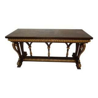 Neo Classical Gilt Wood Mahogany Console Table by Maitland Smith