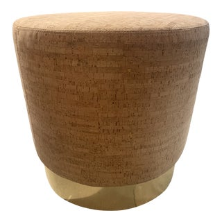 Cork Leather Ottoman With Brass Banded Base For Sale
