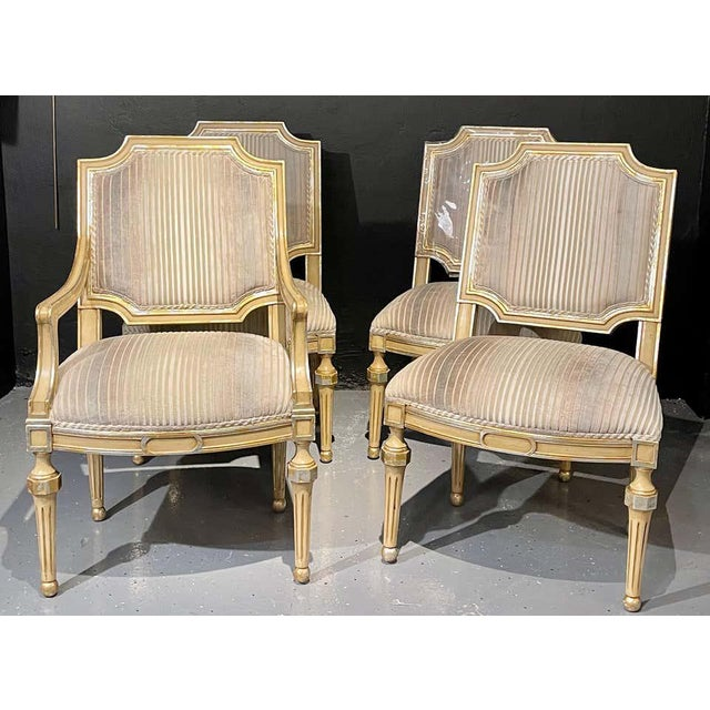 1960s Set of Eight Louis XVI Style Dining Chairs Painted and Parcel-Gilt, Jansen Style For Sale - Image 5 of 13