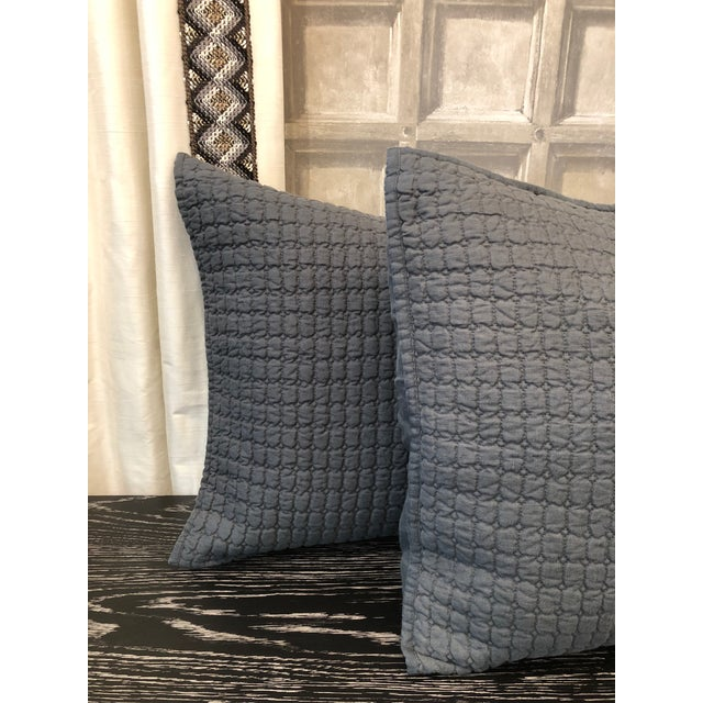Catalina Standard Shams (Set of 2) Color: Steel Blue 100% Quilted Linen Insert Not Included