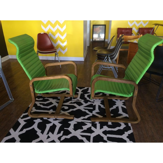 Thonet Bentwood Lounge Chairs in Green - A Pair - Image 3 of 8