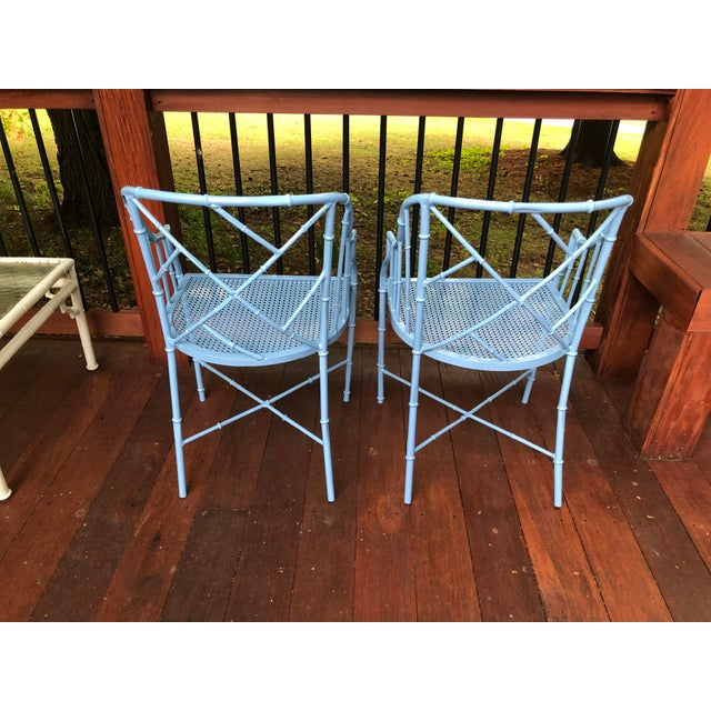 1970s Vintage Cast Aluminum Chinese Chippendale Faux Bamboo Barrel Chairs- A Pair For Sale - Image 11 of 13