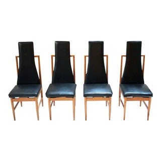 Danish Modern Teak & Black Vinyl Tall-Back Dining Chairs - Set of 4 For Sale