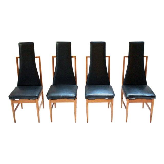 Danish Modern Teak & Black Vinyl Tall-Back Dining Chairs - Set of 4 For Sale