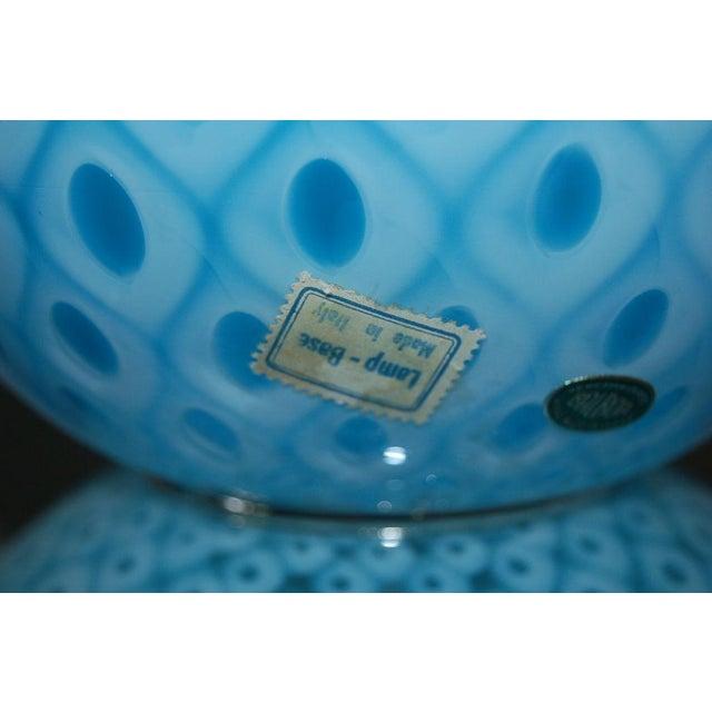 Silver Galliano Ferro Vintage Murano Glass Table Lamps Blue For Sale - Image 8 of 11