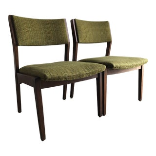 Vintage Mid Century Upholstered Lounge Chairs in the Jens Risom Style- a Pair For Sale