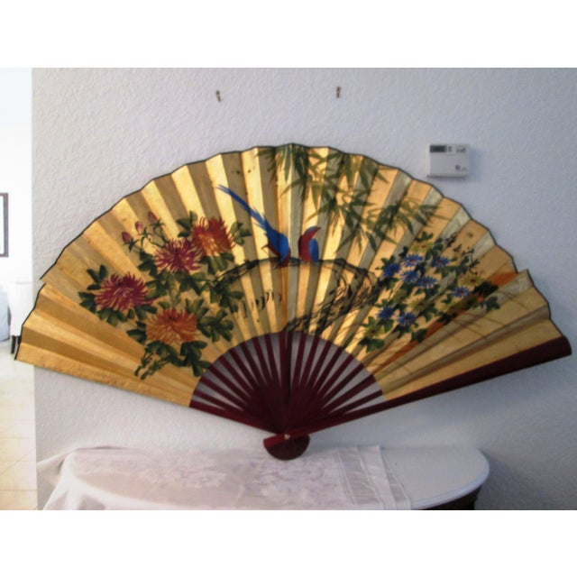 Asian Blue Bird & Floral Gold Paper Wall Fan - Image 2 of 8