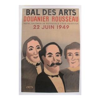 1949 Original French Vintage Poster, Bal Des Arts, Douanier Rousseau, by Paul Colin For Sale