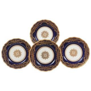12 Stunning Cobalt Blue Gilt Encrusted Dinner or Presentation Plates, Medallion For Sale