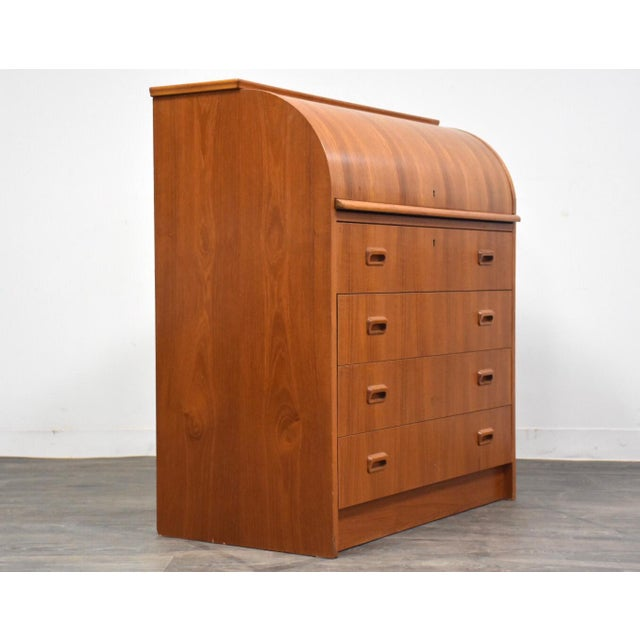 1970s Modern Teak Drum Roll Secretary Desk For Sale - Image 5 of 13