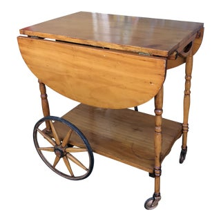 Early 19th Century Antique Wagon Wheel Wood Tea Cart For Sale