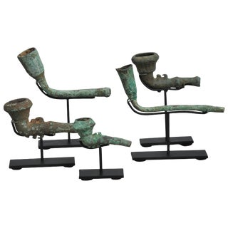 16-17th Century Bronze Opium Pipe Heads Excavated From the Central Highlands For Sale