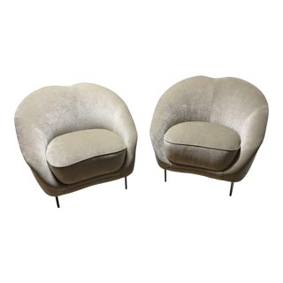 Gold Weiman Chenille Chairs - A Pair For Sale