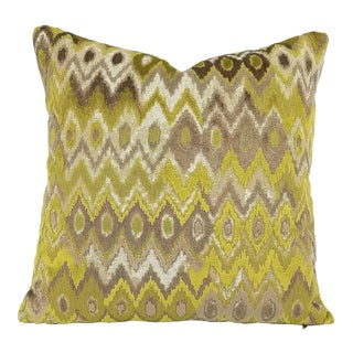 Kravet Couture Modern Contrast Quince Chartreuse Cut Velvet Pillow Cover For Sale