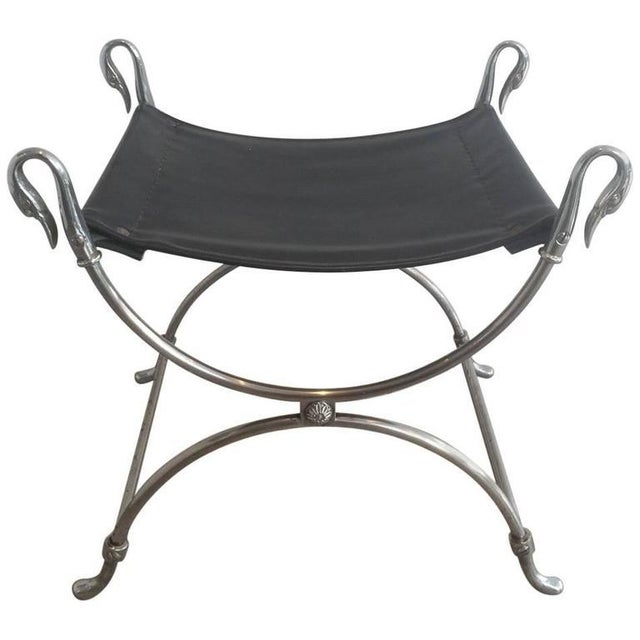 Brushed Steel Stool With Swanheads Attributed to Maison Jansen - Image 11 of 11
