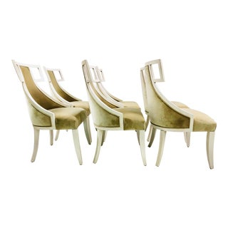 Velvet White Wash Wood Dining Chairs - Set of 6 For Sale