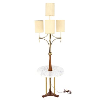 Mid Century Modern Walnut Brass Floor Lamp with Round Marble Side Table For Sale