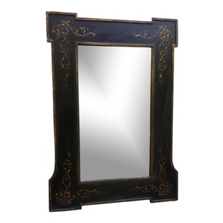 Hand Painted Classic Design Rectangular Wooden Mirrors in Black For Sale
