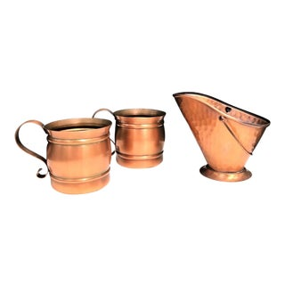 Mid-Century Gregorian Copper Mugs and Pitcher Set - Set of 3 For Sale