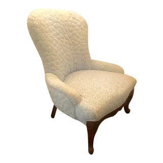 Victorian Quilted Parlor Slipper Chair
