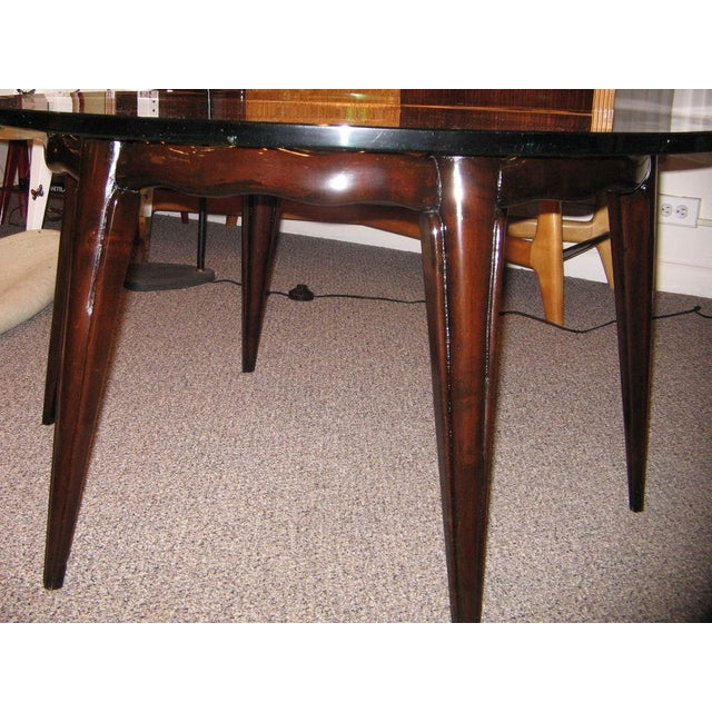 1940s Fontana Arte Round Cocktail Table in Mahogany and Glass Italy circa 1940 For Sale - Image 5 of 5